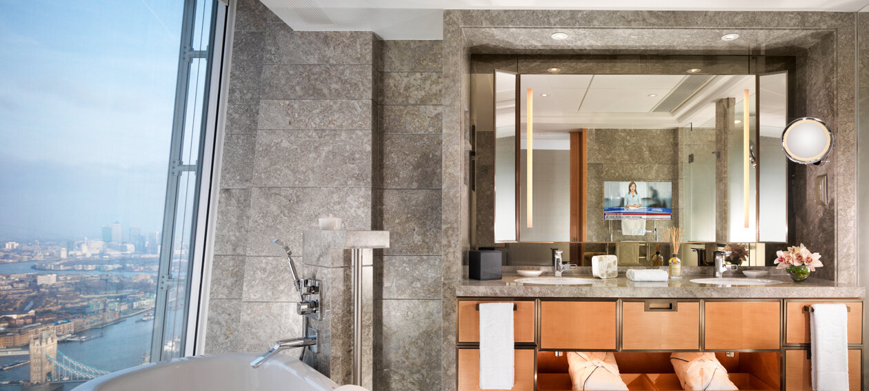 18.5'' Lighted Mirror TV for hospitality application, installed in a bathroom environment @ Shangri La London in the United Kingdom.